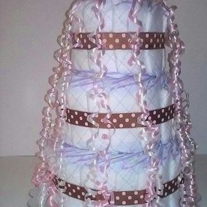 Other - Pink and Brown Baby Shower 3 Tier Diaper Cake Gift